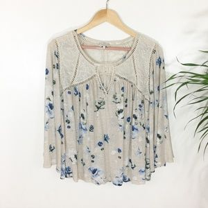 Lucky Brand Floral Lace Boho Top